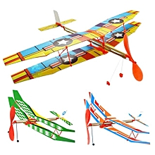 DIY Hand Throw Flying Glider Plane Toy Elastic Rubber Band Powered Airplane Assembly Model Toys-