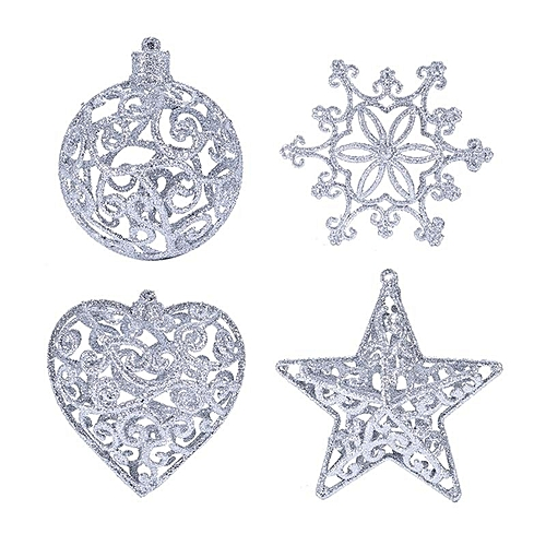 Christmas Tree Decor Hollow Ball Five Pointed Star Heart Snowflake Shape Ornaments Silver