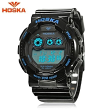 H017B Children Digital Watch Alarm Day Date Stopwatch Backlight 3ATM Wristwatch-Blue And Black-Blue And Black