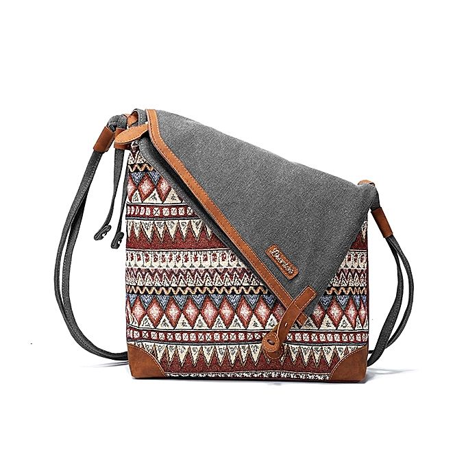 29192f58a89a ... Brenice National Printing Canvas Retro Bohemia Style Button Women  Shoulder Crossbody Bag ...