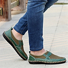 Men's Driving Slip on Loafers Leather Summer Shoes Breathable Mesh Casual Shoes
