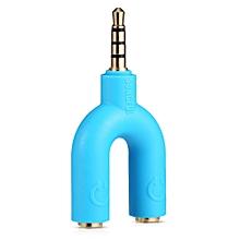 U2 3.5MM Stereo Audio 1 to 2 Cector Earphones Splitter Adapter-BLUE
