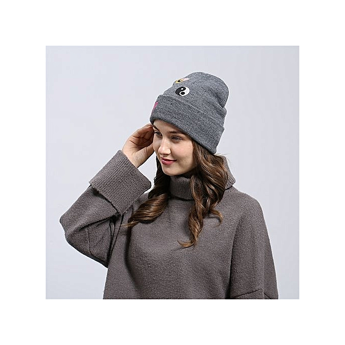 47358a89d0c Eissely Emoji Emoticon Men Women Baggy Wool Knit Ski Beanie Hat ...