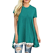 New Women's Tops Short Sleeve Lace Scoop Neck A-Line Tunic Blouse