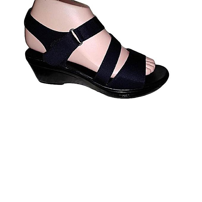 9a2f077f0 Sanda New Black Wedge Sandals Women Shoes @ Best Price Online ...