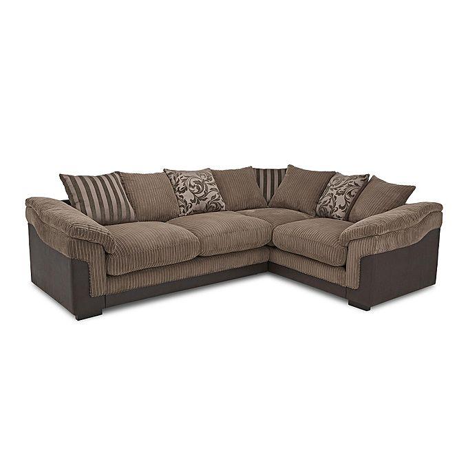 Superior Furniture Fabric L-Shape 5 Seater (Brown & Beige