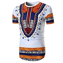 Men Summer Casual African Print O Neck Pullover Short Sleeve T-shirt Top Blouse