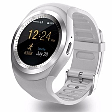 Smart Watchs Y1 Round display support Nano SIM &TF Card With Whatsapp and Facebook Men Women Business Smartwatch For IOS/ Android-white
