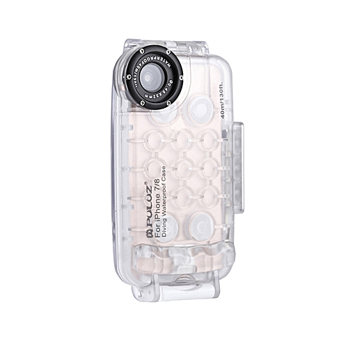 new style b29df ae7f1 PULUZ for iPhone 7 & 8 40m/130ft Waterproof Diving Housing Case for Surfing  Swimming Photo Video Taking Underwater Cover (Transparent)