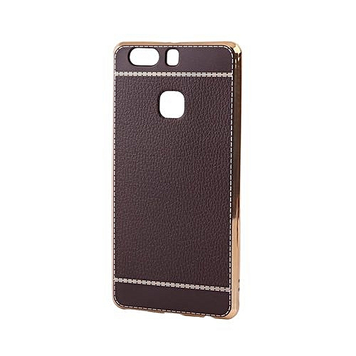 wholesale dealer 4b0ff a0b07 Luxury Plating Design Soft TPU Smartphone Back Cover Case For Huawei P9  Coffee
