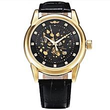 Black Automatic Self-wind Leather Strap Mens' Wrist Watch