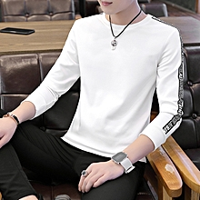white Autumn New Men's Long sleeved T-shirt Letter Print Sleeves O Neck Solid Slim Casual Tshirt(china size)