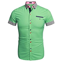 Coofandy Men Fashion Slim Fit Stripe Turn Down Collar Patchwork Short Sleeve Casual Shirt ( Green )
