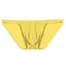 Avidlove Men Brief Breathable Ice Silk Triangle Underpants Solid Brief-Yellow