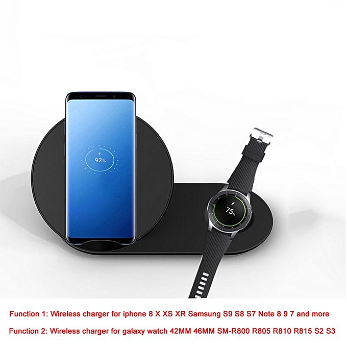 2in1 QI Wireless Charger Stand for iPhone X XR XS MAX 8 for Samsung S9 S8  S7 Note 9 8 Galaxy Watch Gear S3 S2 Huawei Mate RS
