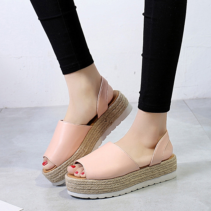 938fa2eee2e5 Fashion ALEX most popular best rating lowest price Women s Ladies Summer  Flat Playform Woven Thick-Bottom Sandals Roman Shoes   Best Price