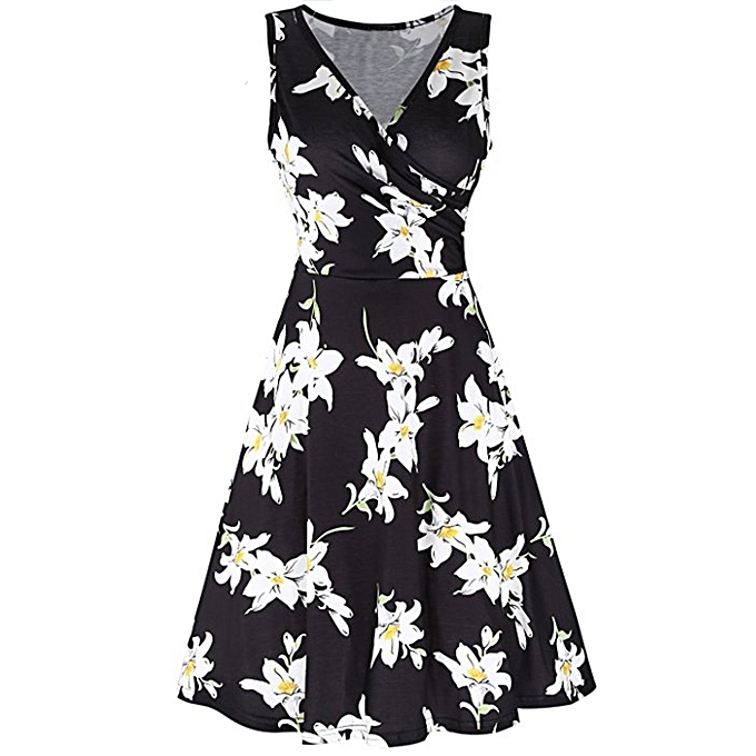 acaa51c998 High-end Women V Neck Sleeveless Printing Summer Beach A Line Casual Dress  Floral Dress
