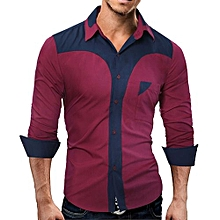 bluerdream-Mens Casual Long Sleeve Shirt Business Slim Fit Shirt Hight Quality Blouse- Wine Red