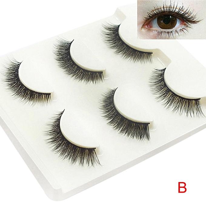 Buy Neworldline 3pairs Long Cross False Eyelashes Makeup Natural
