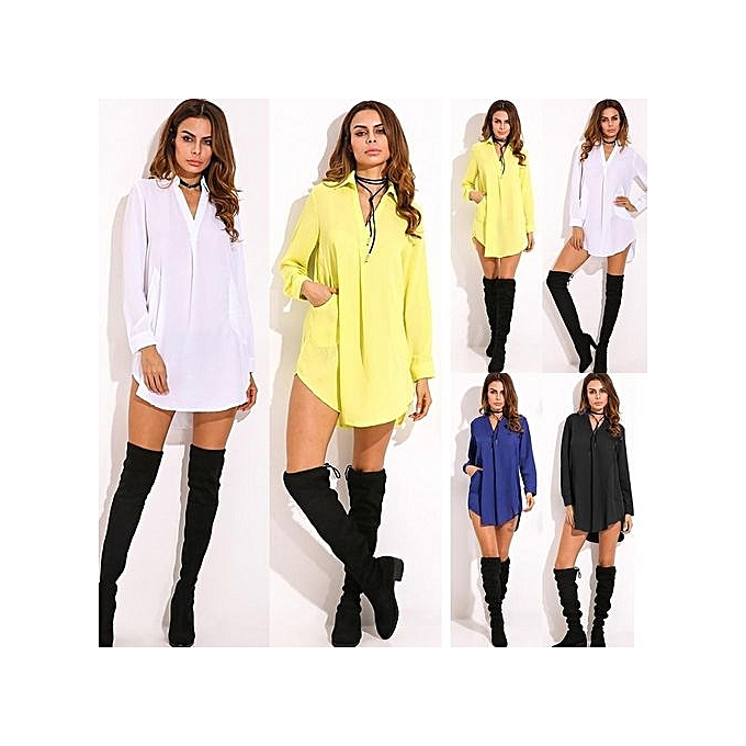 01d7bab726de ZANZEA Fashion Womens Casual Loose Shirt Dress See Through Chiffon Long  Sleeve Lapel Plus Size