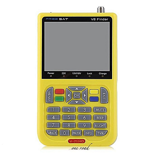 V8 Digital Satellite TV Signal Finder Freesat DVB-S2 FTA LNB Signal Meter  Yellow
