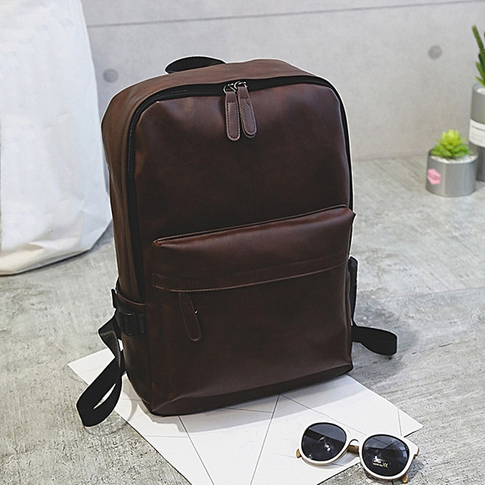 00db7d4c8197 Xiuxingzi Men s Women s Leather Backpack Laptop Satchel Travel School  Rucksack Bag Brown