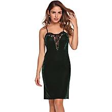 Women Spaghetti Strap Sleeveless Lace Patchwork Bodycon Slim Pencil Dress (Green )