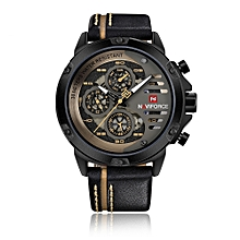 Fashion Casual Quartz Watch 3ATM Water-resistant Men Watches Luminous  Leather Wristwatch Male Relogio Musculino Calendar