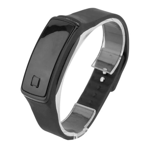 UJ Super Lightweight LED Touch Sport Running Soft Silicone Smart Wristaband-black - black