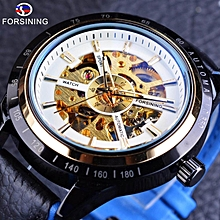 Forsining GMT1009-7 Blue Genuine Leather Military Automatic Sport Wrist Watch Transparent Open Work Skeleton Men Watch Top Brand Luxury JY-M