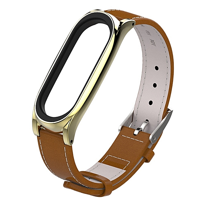 Replacement Leather Smart Wrist Watch Strap for Xiaomi Mi band 3 Bracelet