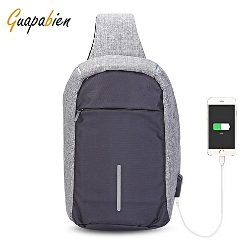 Guapabien Guapabien Sling Shoulder Chest Bag for Men with USB Charging Port  Headphone Hole 4481da5e1db19