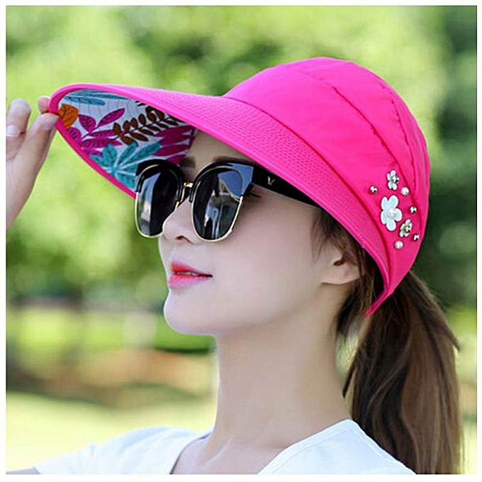 215805feb10620 Printed Sun Hats Women Casual Skin Protection Folding Wide Brim Hats Summer  Beach UV-Proof