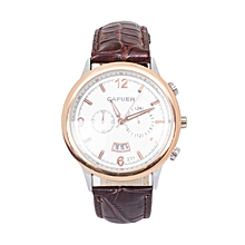 Brown Pu Leather Strap Cafuer Mens Watch With Date