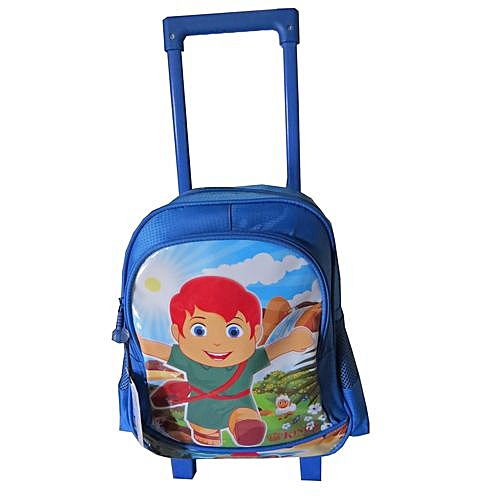 582330c6c591 Generic Trolley School Bag Age 2 to 4 Years for Boys 12 Inches - Blue