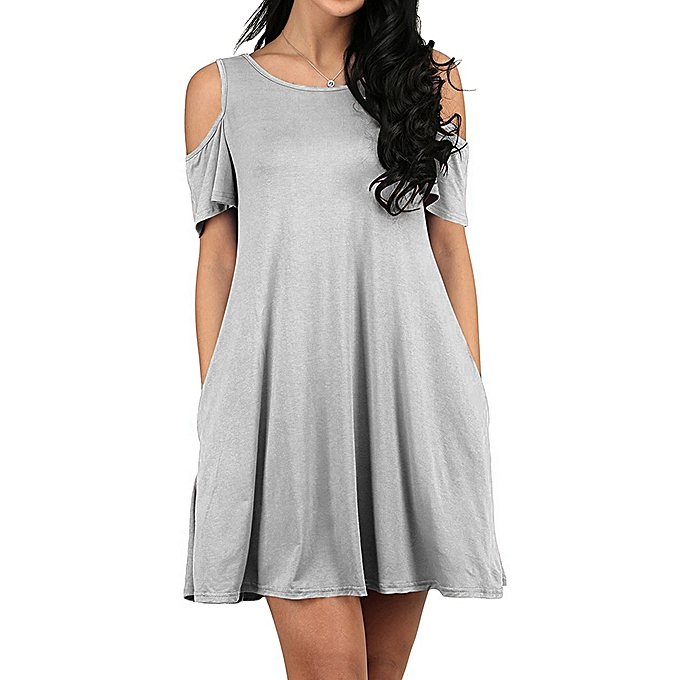 5104f63f1949 New Women Casual Blouse Tops Ladies Sexy Tunic Off Shoulder Short Sleeve  Pockets Loose T-