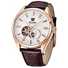 Top Luxury Brand Men Watches Casual Sport Watch Men  Leather Business Mechanical Wristwatch Relogio Masculino(White)