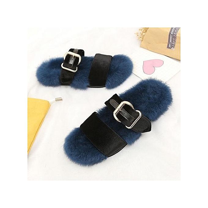 3bad3f1f2e90 ... bluerdream-Women Slippers Fashion Plush Slippers Women Faux Fur Flip  Flops Flat Shoes BU