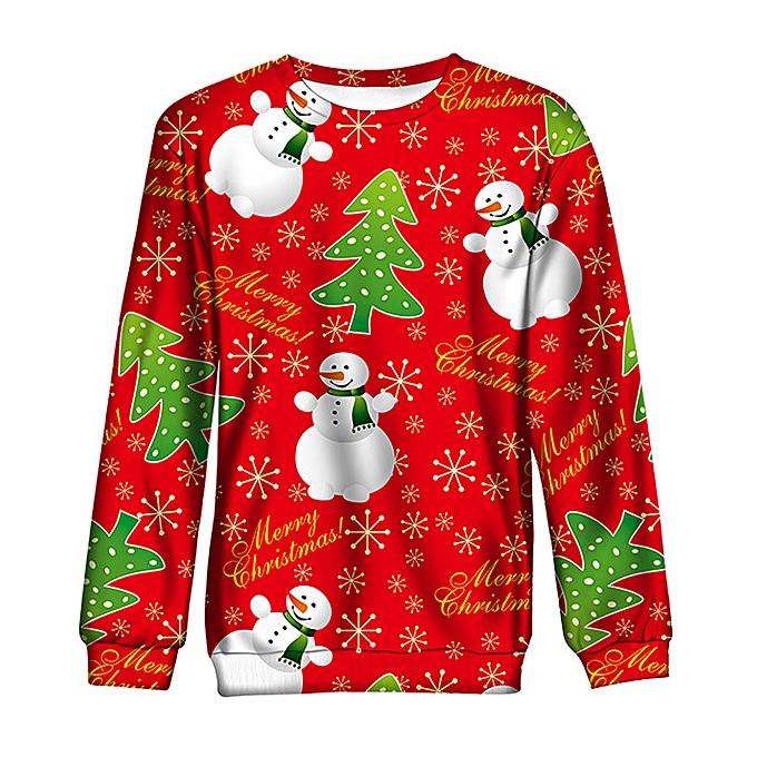a93455ff jiahsyc store Women Men Autumn Winter 3D Christmas Print Long Sleeve O-Neck  Sweatshirt Blouse