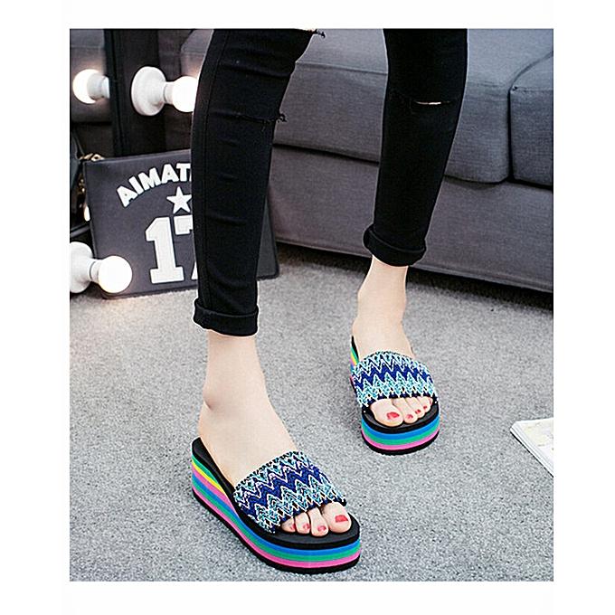 99979805c727 Generic Women Rainbow Flip Flops Sandals Summer Non-Slip Cool ...