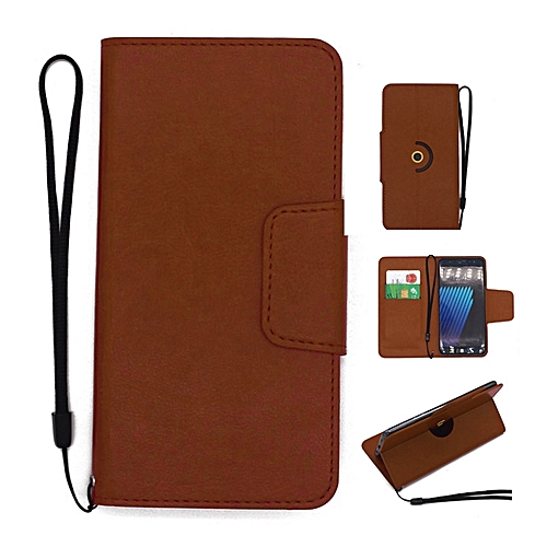 Fashion Case Universal Rotating Ultra Slim Durable PU Leather Wallet Case  Cover for Tecno Phantom 8 5 7 inch (Brown)
