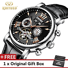KINYUED Top Brand Mechanical Watch Luxury Men Business Watchs Genuine Leather Band 3ATM Waterproof Calendar Function Mens Famous Male Watches Clock For Men Wrist Watch J017P BDZ