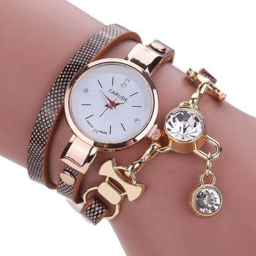 AI Fashion Women's Ladies Faux Leather Rhinestone Analog Quartz Dress Wrist Watches - as shown - One size