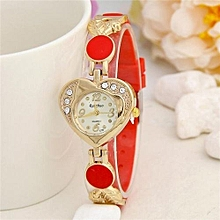 Loving Heart Surface Silicone Crystal Diamond Dress Women Watches Relojes Mujer Ladies Hour Fashion Quartz(Red)