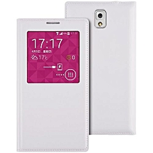 Smart View Window Flip Leather Cover Case For Samsung Galaxy Note3/N9000/n9005/n9002 Luxury Pu Leather Case(White)