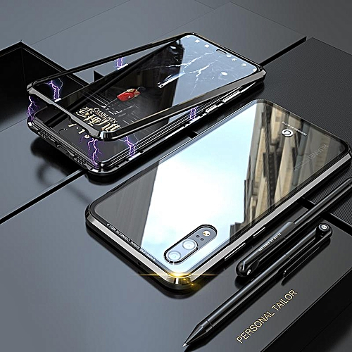 the best attitude 097e0 3d988 Built-in Magnet Case For Huawei P20 Clear Tempered Glass Magnetic  Adsorption Case Metal Ultra Cover Bumper Mobile Accessories Phone  CasesBlack (Black)