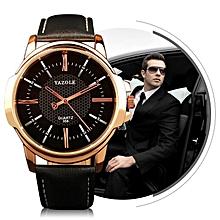 358 Men Fashion Business Waterproof Leather Band Quartz Wrist Watch(Black)