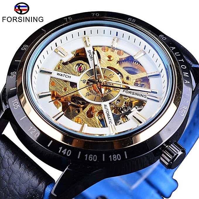 Watch Luminous Casual Automatic Mechanical Leather Men's Hollow Waterproof dEQreWCBox