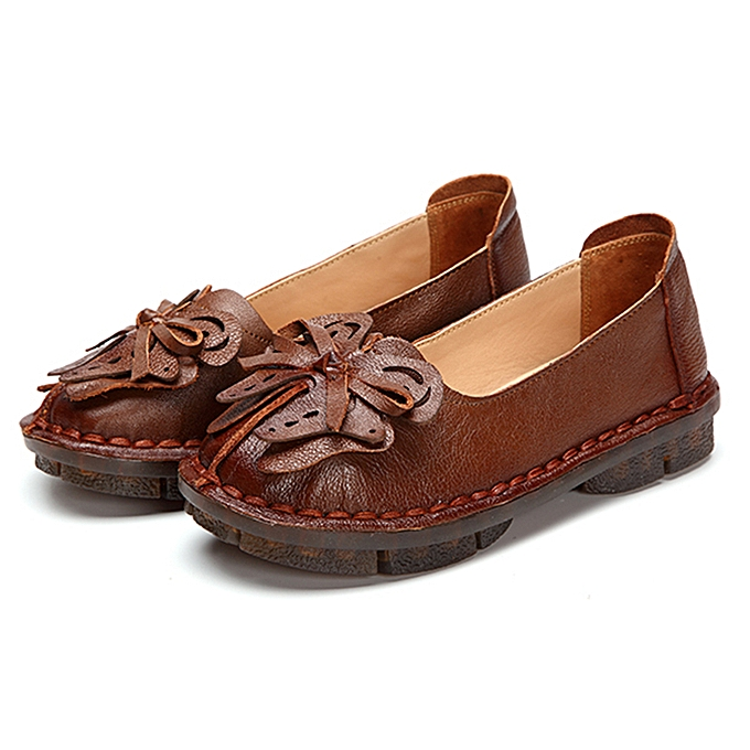 a68041f89e3 Socofy Butterfly-knot Vintage Flat Shoes Women Flats Genuine Leather  Loafers Casual Shoes Woman Slip