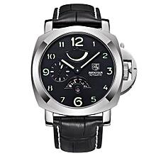 Men's Waterproof Business Mechanical Wristwatch  Leather Full Steel Fashion Casual Sport Watches Men(Silver)